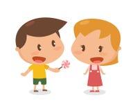 Niños en la acción giving libre illustration