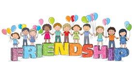 Niños en la amistad de la palabra stock de ilustración