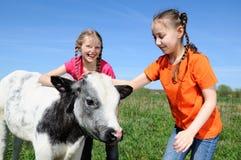 Niños en la granja Foto de archivo libre de regalías