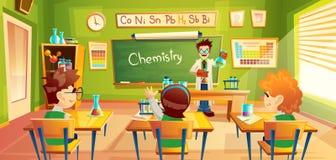 Niños en la lección de la química, ejemplo libre illustration