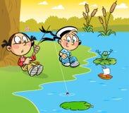 Niños en la orilla de la charca stock de ilustración