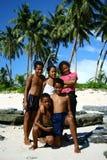 Niños en la playa de Samoa Foto de archivo libre de regalías