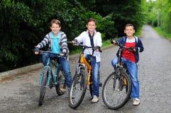 Niños en las bicicletas Imágenes de archivo libres de regalías