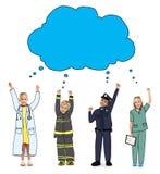 Niños en los sueños Job Uniform y las burbujas del pensamiento Imágenes de archivo libres de regalías