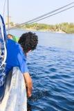 Niños en Nile River imagenes de archivo