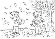 Niños en otoño Fotografía de archivo