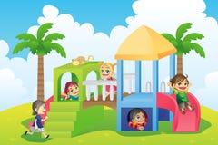 Niños en patio stock de ilustración