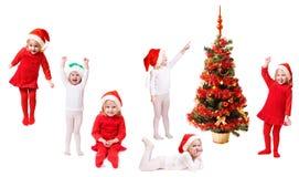 Niños en sombrero de la Navidad con el abeto Imagenes de archivo