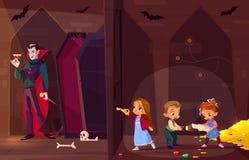 Niños en vector de la historieta del sitio del escape de la búsqueda ilustración del vector