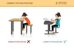 Niños ergonómicos Actitud incorrecta y correcta de la sentada stock de ilustración