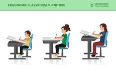Niños ergonómicos Actitud incorrecta y correcta de la sentada ilustración del vector