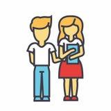 Niños, estudiantes de la escuela, muchacho y muchacha de enseñanza con concepto de los libros Ilustración del Vector