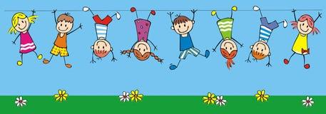Niños felices colgantes, ejemplo divertido del vector libre illustration