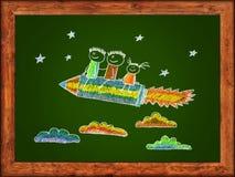 Niños felices con el cohete formado lápiz ilustración del vector