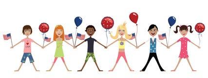Niños felices con el indicador americano y los globos Fotografía de archivo libre de regalías