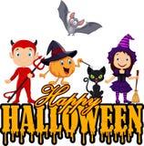 Niños felices con el traje de Halloween aislado en el fondo blanco ilustración del vector