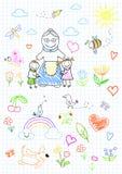 Niños felices con la abuela Imagen de archivo libre de regalías