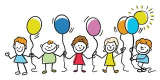 Niños felices con los globos junto stock de ilustración