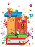 Niños felices con los libros Imágenes de archivo libres de regalías