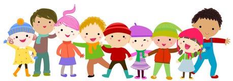 Niños felices con ropa del invierno libre illustration