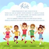 Niños felices de la escuela, amigos de la diversión que saltan y que juegan el togeter al aire libre fondo del vector de las vaca libre illustration