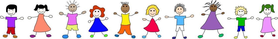 Niños felices de por todo el mundo ilustración del vector