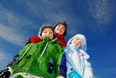 Niños felices del invierno Foto de archivo libre de regalías