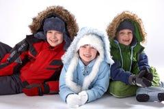 Niños felices del invierno Fotografía de archivo libre de regalías