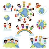 Niños felices del vector del mundo de los niños en la tierra del planeta en la paz y el ejemplo terrestre mundial de la amistad p stock de ilustración