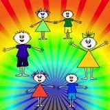 Niños felices en el arco iris Fotografía de archivo libre de regalías