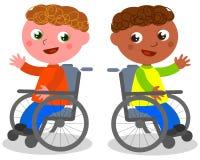 Niños felices en vector de la silla de ruedas Imágenes de archivo libres de regalías
