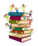 Niños felices encima de una pila de libros stock de ilustración