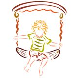 Niños felices que balancean en un oscilación libre illustration