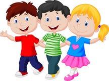 Niños felices que caminan junto stock de ilustración