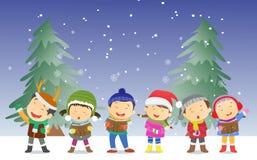 Niños felices que cantan villancicos de la Navidad stock de ilustración