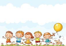 Niños felices que corren al aire libre libre illustration