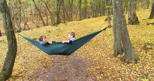 Niños felices que disfrutan de día del otoño en bosque almacen de video