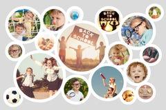 Niños felices que juegan al aire libre en el tiempo del día fotografía de archivo libre de regalías