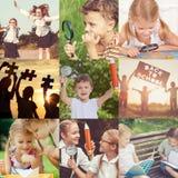 Niños felices que juegan al aire libre en el tiempo del día imagen de archivo