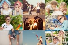 Niños felices que juegan al aire libre en el tiempo del día foto de archivo libre de regalías