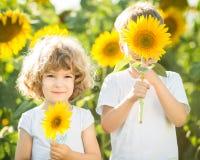 Niños felices que juegan con los girasoles imagen de archivo