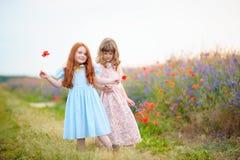 Niños felices que juegan en el campo en el tiempo del día Concepto de Foto de archivo
