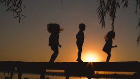 Niños felices que saltan junto durante la puesta del sol en el parque, siluetas metrajes