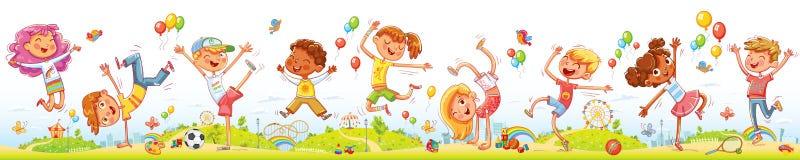 Niños felices que saltan y que bailan junto en el parque de atracciones del entretenimiento ilustración del vector