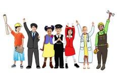 Niños felices y Job Concepts ideal Imágenes de archivo libres de regalías