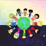 Niños holdding la mano en todo el mundo Ilustración del Vector