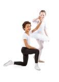 Niños interraciales que bailan junto Fotografía de archivo