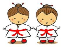 Niños japoneses en kimono tradicional del traje stock de ilustración