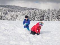 Niños jovenes que juegan en la nieve Imágenes de archivo libres de regalías