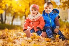 Niños juguetones felices en el parque del otoño imagen de archivo